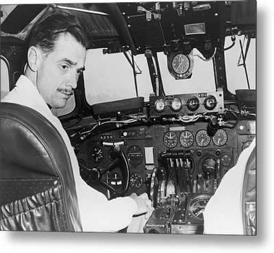 Howard Hughes Seated In The Cockpit Twa Metal Print by Everett
