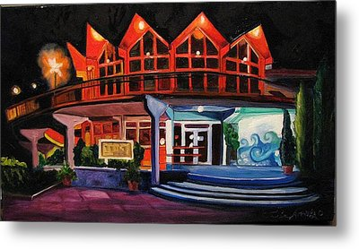 Metal Print featuring the painting Howard Johnsons At Night by Patricia Arroyo