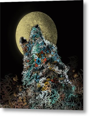 Howling Wolf Floral Metal Print