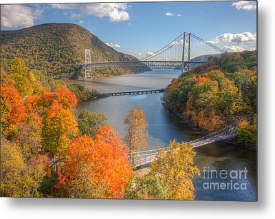 Hudson River And Bridges Metal Print by Clarence Holmes