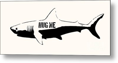 Hug Me Shark - Black  Metal Print by Pixel  Chimp