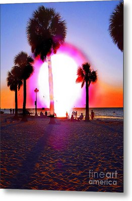 Huge Sun Pine Island Sunset  Metal Print