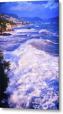Metal Print featuring the photograph Huge Wave In Ligurian Sea by Silvia Ganora
