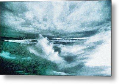 Huge Waves And Stormy Sea Art Painting Metal Print