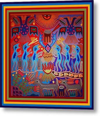 Metal Print featuring the digital art Huichol Tribal Fire Ritual by Vagabond Folk Art - Virginia Vivier