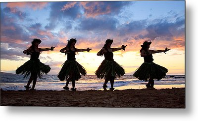 Hula At Sunset Metal Print