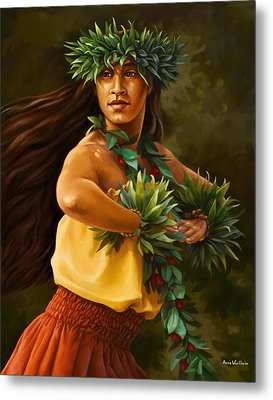 Hula Dancer Metal Print by Anne Wertheim