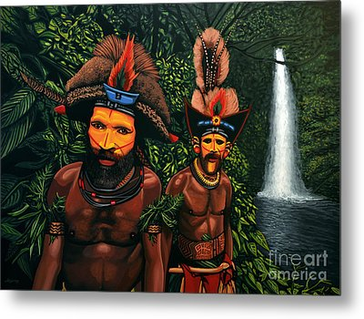 Huli Men In The Jungle Of Papua New Guinea Metal Print by Paul Meijering