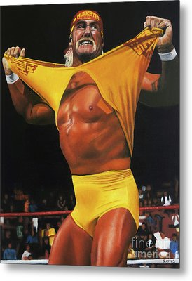 Hulk Hogan Oil On Canvas Metal Print