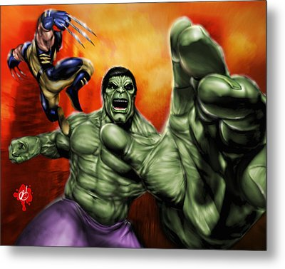 Hulk Metal Print by Pete Tapang