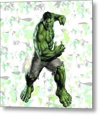 Metal Print featuring the mixed media Hulk Splash Super Hero Series by Movie Poster Prints