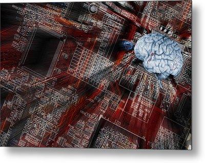 Human Brain, Intelligence And Communication Metal Print by Christian Lagereek