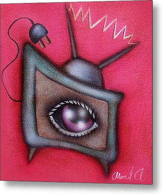 Human Tv Metal Print by  Abril Andrade Griffith