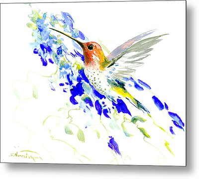 Hummingbird And Blue Flowers Metal Print by Suren Nersisyan