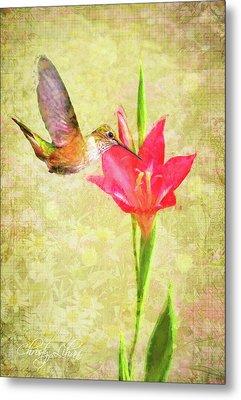 Metal Print featuring the digital art Hummingbird And Flower by Christina Lihani