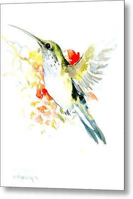 Hummingbird And Flowers Metal Print by Suren Nersisyan