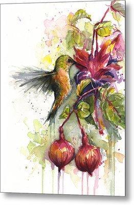 Hummingbird And Fuchsia Metal Print by Olga Shvartsur