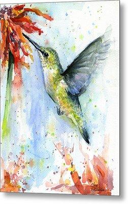 Hummingbird And Red Flower Watercolor Metal Print by Olga Shvartsur