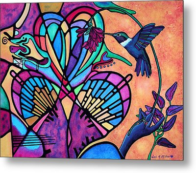 Hummingbird And Stained Glass Hearts Metal Print by Lori Miller