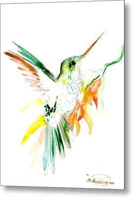 Hummingbird Green Orange Red Metal Print by Suren Nersisyan