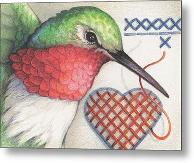 Hummingbird Handiwork Metal Print by Amy S Turner
