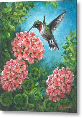 Metal Print featuring the painting Hummingbird Heaven by Kim Lockman