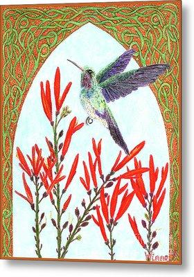 Hummingbird In Opening Metal Print
