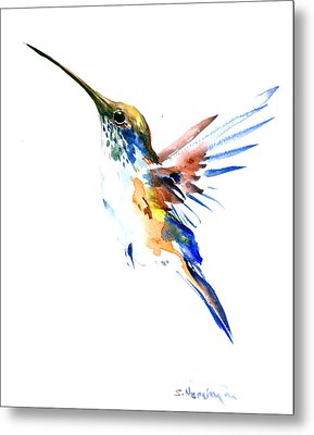 Hummingbird Olive Green, Blue Metal Print by Suren Nersisyan