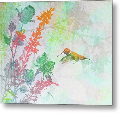 Metal Print featuring the digital art Hummingbird Summer by Christina Lihani