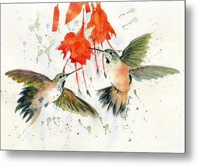 Hummingbird Watercolor Metal Print