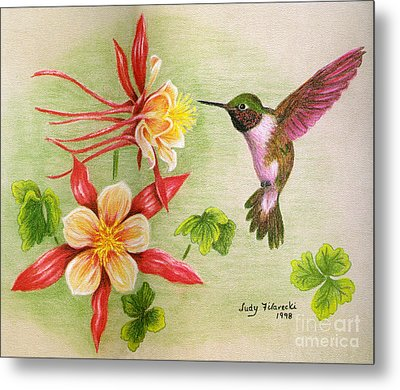 Hummingbird's Delight Metal Print by Judy Filarecki