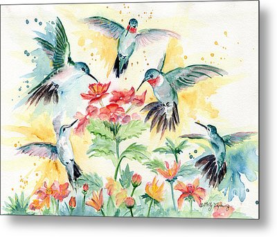 Hummingbirds Party Metal Print