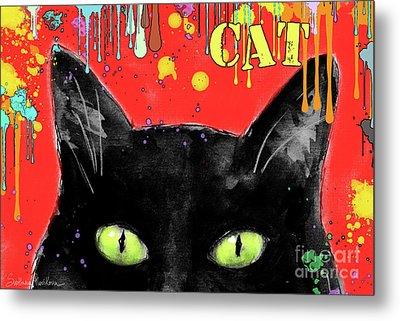 humorous Black cat painting Metal Print