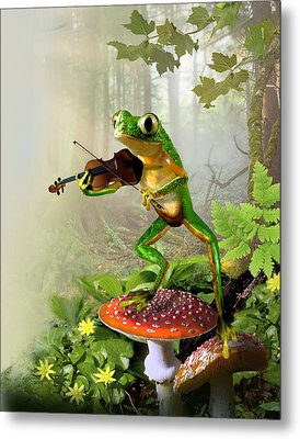 Humorous Tree Frog Playing A Fiddle Metal Print by Regina Femrite