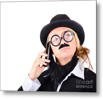 Humorous Worker With Mobile Phone Metal Print by Jorgo Photography - Wall Art Gallery