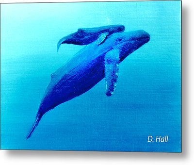 Humpback Mother Whale And Calf  #11 Metal Print by Donald k Hall