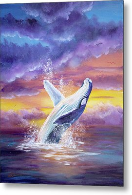 Humpback Whale In Sunset Metal Print