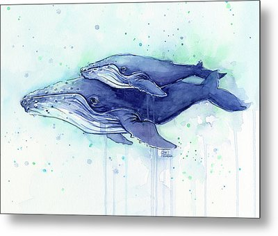 Humpback Whale Mom And Baby Watercolor Metal Print
