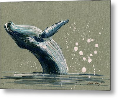 Humpback Whale Swimming Metal Print by Juan  Bosco