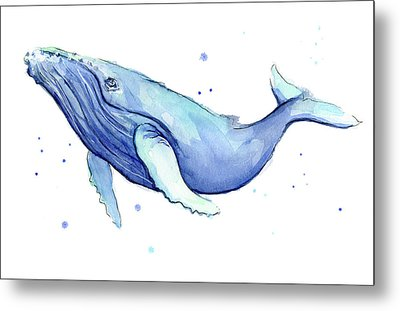 Humpback Whale Watercolor Metal Print by Olga Shvartsur