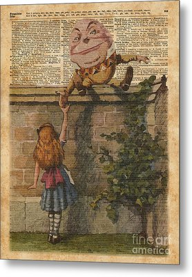 Humpty Dumpty Alice In Wonderland Vintage Dictionary Art Metal Print by Jacob Kuch