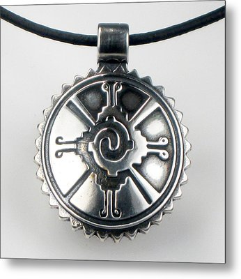 Hunab Ku Mayan Sterling Silver Pendant Metal Print
