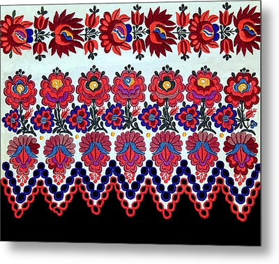 Hungarian Folk Art Embroidery From Sioagard Metal Print