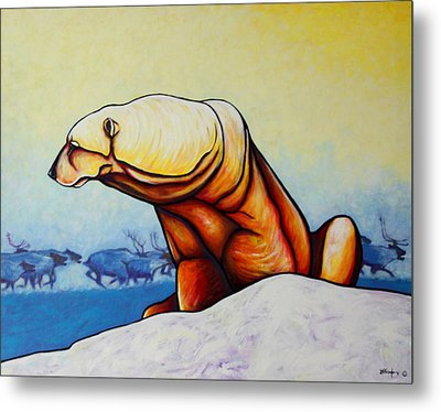 Hunger Burns - Polar Bear And Caribou Metal Print by Joe  Triano