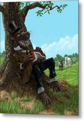 Hungry Bad Wolf In Field With Little Sheep Metal Print