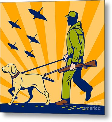 Hunting Gun Dog Metal Print by Aloysius Patrimonio