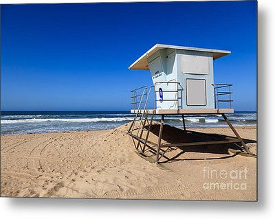 Huntington Beach Lifeguard Tower Photo Metal Print by Paul Velgos