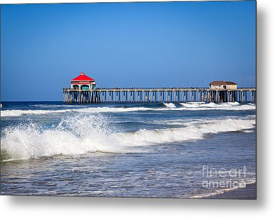 Huntington Beach Pier Photo Metal Print by Paul Velgos