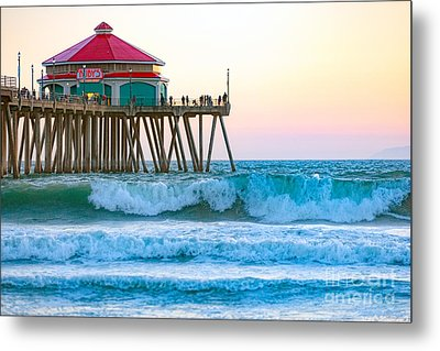Metal Print featuring the photograph Huntington Pier by Anthony Baatz