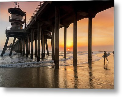 Huntington Sunset Surfer Metal Print